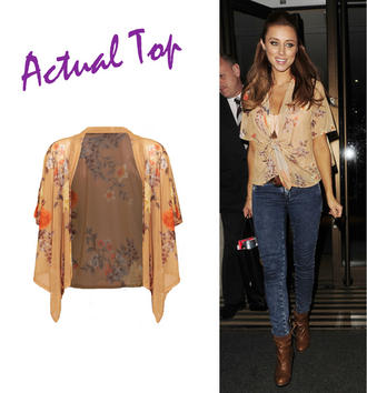 View Item Floral Cropped Kimono In Mustard